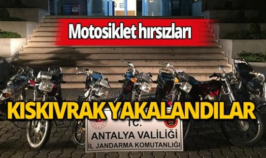 Alanya'da motosiklet hırsızları jandarmadan kaçamadı