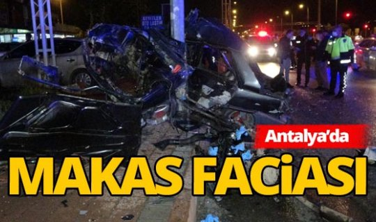 Antalya'da direğe çarpan otomobil hurdaya döndü: 1 ölü, 1 yaralı