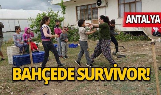 Sokağa çıkamayınca evlerinin bahçesinde Survivor yarışması düzenlediler