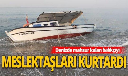 Antalya Haber: Kayalıklara çarpan tekne, halat yardımıyla sahile çıkarıldı
