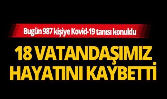 Türkiye'de koronavirüs nedeniyle son 24 saatte 18 kişi hayatını kaybetti