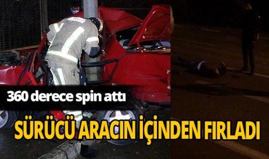 Bursa'da sürücü spin atan araçtan fırladı