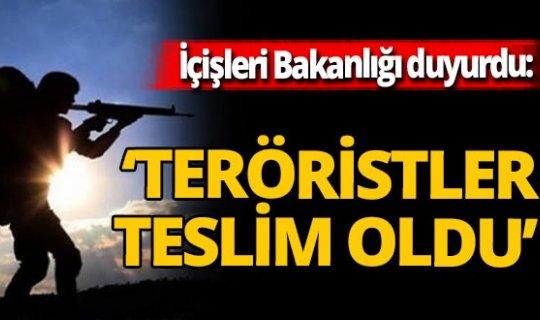 İçişleri Bakanlığı duyurdu! 5 terörist teslim oldu