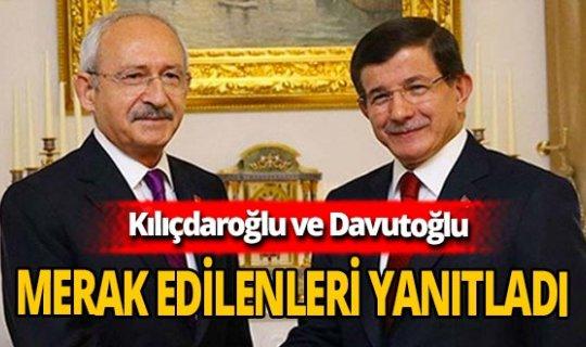 Kemal Kılıçdaroğlu ve Ahmet Davutoğlu ortak açıklama yaptı