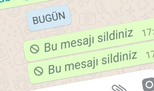 WhatsApp'ta iletilen mesajı silme