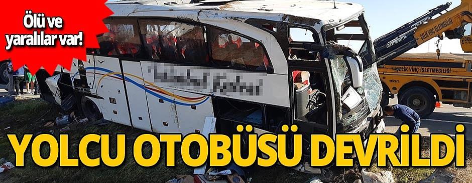 Feci kaza: Otobüs şarampole devrildi!