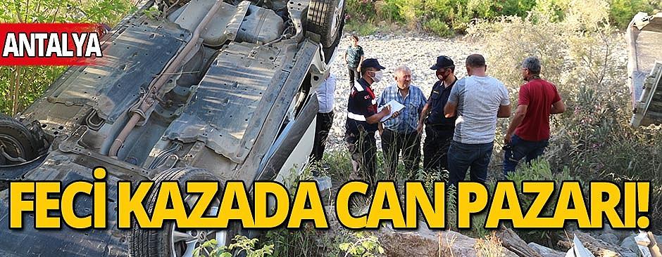 Antalya'da araçların kafa kafaya çarpıştığı kazada can pazarı