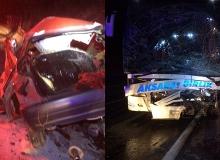 Antalya'da yolcu otobüsü ile otomobil çarpıştı