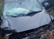 İki otomobil kafa kafaya çarpıştı
