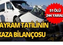 Kurban Bayramı tatilinin kaza bilançosu : 67 kaza, 51 ölü, 244 yaralı
