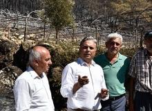 Başkan Uysal yangın bölgesinde incelemelerde bulundu