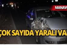Manavgat'ta feci kaza : Otomobil ile midibüs çarpıştı!