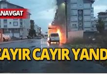 Manavgat'ta park halindeyken yandı!