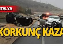 Antalya'da 4 araç birbirine girdi!