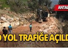 Antalya'da heyelandan dolayı çöken yol trafiğe açıldı!
