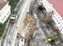 İstinat duvarı yıkıldı!