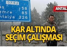 Antalya Milletvekili Uslu'dan kar altında seçim çalışması