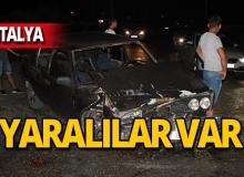 Antalya'da park halindeki otomobile çarptı: Yaralılar var