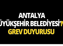 Antalya Büyükşehir Belediyesi önünde grev ilanı