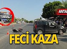 Motosiklet 'U' dönüşü yapan otomobile çarptı!