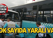 Vinç yüklü kamyon otobüse çarptı: Yaralılar var