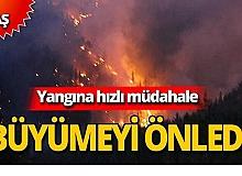 Yangın yerleşim yerlerine ulaşmadan önlendi
