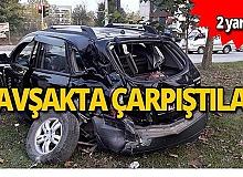 Tır ile otomobil çarpıştı! 2 yaralı