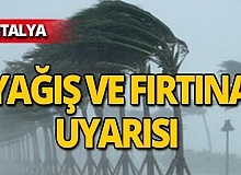 Antalya dikkat! Meteoroloji'den yağış ve fırtına uyarısı