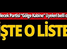 """Gelecek Partisi """"Gölge Kabine"""" üyeleri belli oldu"""