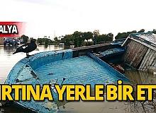 Şiddetli fırtına tekne ve botları batırdı