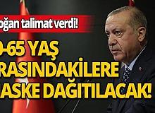 Cumhurbaşkanı Erdoğan'ın talimatıyla 20-65 yaş arası vatandaşlara maske dağıtılacak