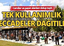 Antalya'da tek kullanımlık seccadeler dağıtıldı, camiler ve pazar alanları dolup taştı