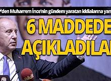 CHP, Muharrem İnce'nin iddialarına madde madde yanıt verdi