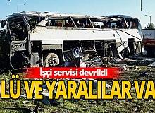 Eskişehir'de işçi servisi devrildi!