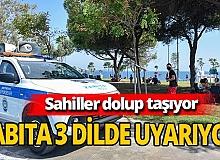 Antalya'da zabıtadan 3 dilde maske uyarısı