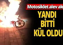 Antalya haber: Motosiklet yandı, bitti, kül oldu