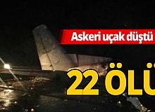 Askeri uçak düştü! 22 ölü