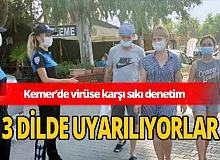 Kemer'de polisler 3 ayrı dilde maske uyarısı yaptı