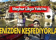 Kürek çekerek Batı Antalya'ya ulaşıyorlar!