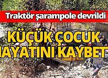 Şarampole devrilen traktördeki çocuk öldü, 2 yaralı