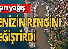 Antalya'da sağanak sonrası denizin rengi değişti!