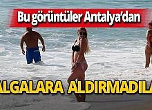 Antalya haber: Turistlerin keyfini dalga bile bozamadı