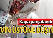 İzmir'de dehşete düşüren olay! Kaya parçaları eve düştü