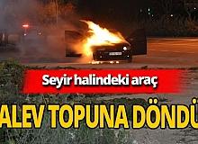 Karaman'da otomobil alev topuna döndü