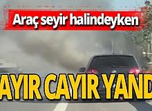 Seyir halindeki otomobilden dumanlar yükseldi