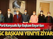 AK Parti Konyaaltı İlçe Başkanı Tayfun Bayar ve İlçe Gençlik Kolları Başkanı Ali Çakmak AGC Başkanı Mevlüt Yeni'yi ziyaret etti