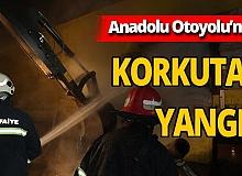 Anadolu Otoyolu'nda park halindeki tekstil yüklü tırda korkutan yangın