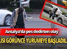 Antalya'da engelli dilenciler, polisi görünce yürümeye başladı
