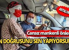 Antalya'da taksi şoföründen cansız mankenli örnek koronavirüs önlemi