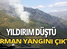 Antalya'da yıldırım düşmesi sonucu orman yangını çıktı